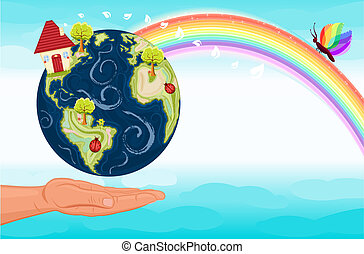 planeet, ons, sparen, groene