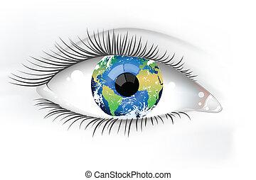planeet, oog, aarde, desaturated
