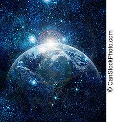 planeet, realistisch, aarde, ruimte