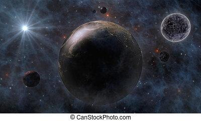 planeet, ruimte, maan, planeet, vertolking, zon, aarde, 3d