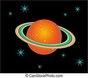 planeet, saturnus, illustratie