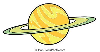 planeet, saturnus, spotprent