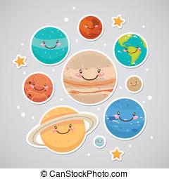 planeet, schattig, sticker