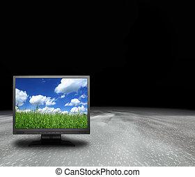 planeet, scherm, lcd, abstract
