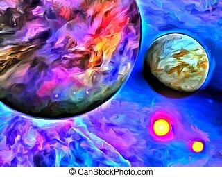 planeet, schilderij, exo-solar