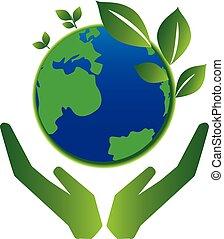 planeet, sparen, concept, groene aarde