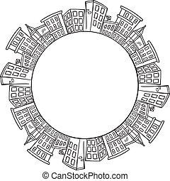 planeet, stad, de ruimte van het exemplaar