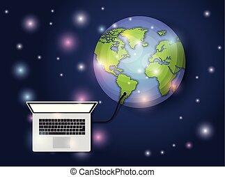 planeet, wereld, laptop computer, verbinding