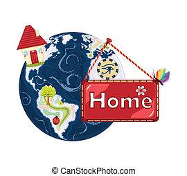 planeet, zoet, aarde, ons, home-, thuis