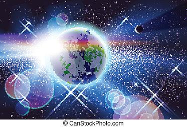 planeet, zon, &, aarde, ruimte