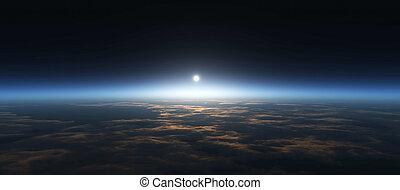 planeet, zonopkomst, ruimte