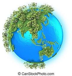 planeet, zuidoosten, australië, azie, aarde