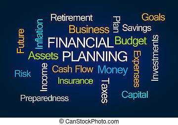 planejamento financeiro, palavra, nuvem