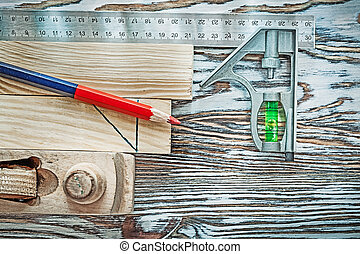 Planer building board pencil level square ruler.