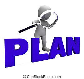planer, objektiv, tecken, planerande, plan, uppläggning, ...