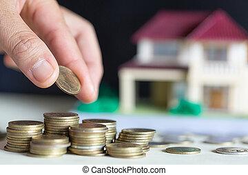 planerande, begrepp, besparing, hus, mynter, hand, identifierat, besparingar, köpa, kvinnlig, pengar, hem, hem