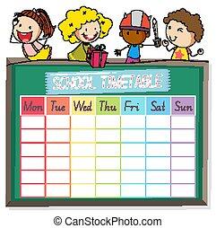 planerande, tecken, skola, tidtabell