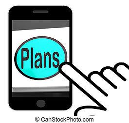 planes, botón, exhibiciones, objetivos, planificación, y, organizador