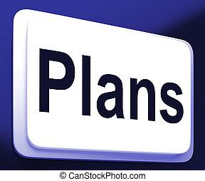 planes, botón, exposiciones, objetivos, planificación, y, organizador