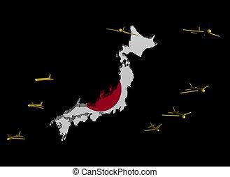 planes departing Japan map flag