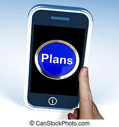 planes, en el teléfono, exposiciones, objetivos, planificación, y, organizador