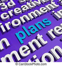 planes, en, palabra, nube, exposiciones, objetivos, planificación, y, organizador
