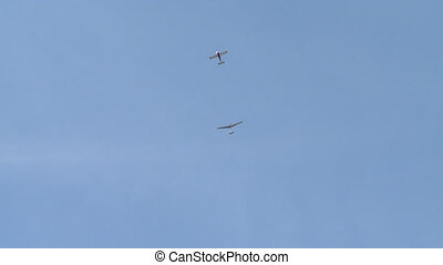 Planes flying high in the blue sky video on a clear summer...