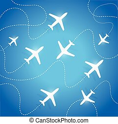 planes flying in different directions.