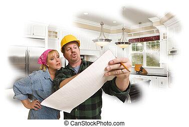 planes, foto, contratista, atrás, mujer, discutir, cocina