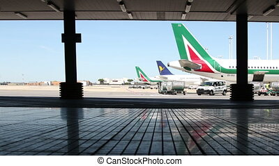 planes getting ready for takeoff, airside, rome...