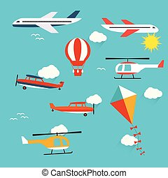 Planes, helicopters,  hot air balloon and kite