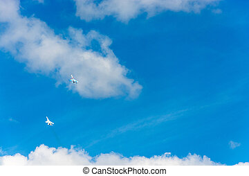 Planes in the sky.