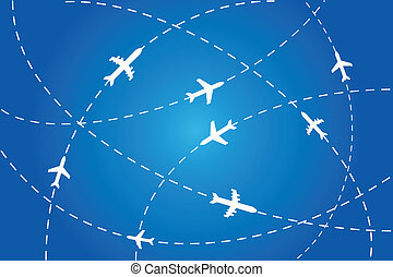 Planes navigating on air - Planes en route to their...