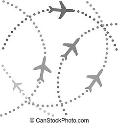 Planes on flight paths - Planes speeding on their flight...