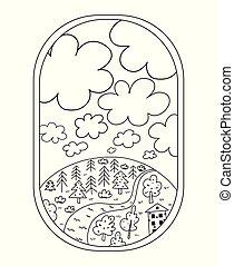 Plane's porthole. Black and white illustration for coloring book. Vector outline illustration.