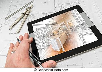 planes, tableta, casa, actuación, ilustración, mano, computadora, arquitecto, encima, cocina