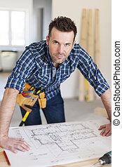 planes, trabajador, construcción, retrato casa, guapo