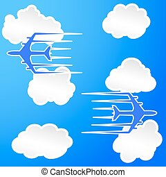 Planes trail in the cloudy sky Vector Illustration