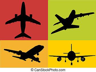 a set of plane illustrations
