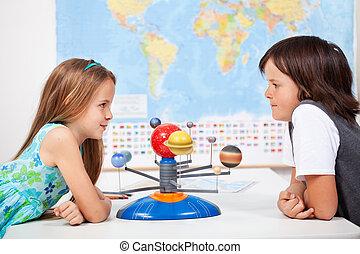 planetário, escala, ciência, sistema, crianças, modelo, classe