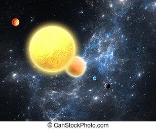 planetário, sistema, com, um, vermelho, anão, estrela