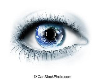 planet, är, in, den, ögon