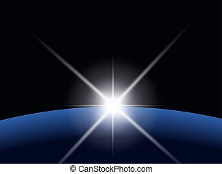 planet, över, stjärna brast