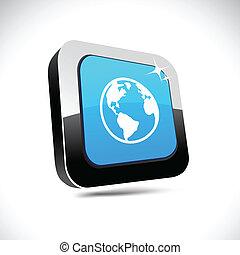 Planet 3d square button.