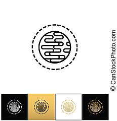 Planet abstract symbol or globe earth linear icon