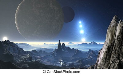 Planet aliens, two moons and UFO