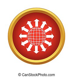 Planet and arrows pointing into space icon