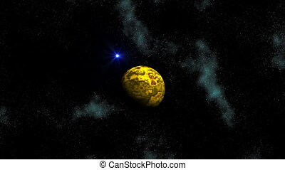 Planet and blue star (UFO) in depth