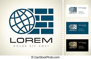 Planet and bricks. Logo construction company.