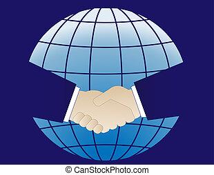 planet and business handshake
